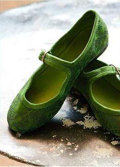 Green Mary Jane Flats ~ love.