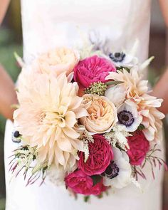 Find your floral inspiration in these seasonal bouquets. Summer pastel bridal bouquet with Dahlias, anemonies and garden roses! Super peachy and pretty. Peach pink and navy blue color palette!