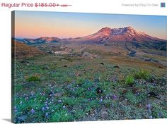 Canvas Gallery Wrap Mt St Helens Volcano Sunset by klgphoto, $157.25