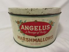 This listing is for a truly wonderful Estate find - a vintage 1930s - 1940s Angelus Marshmallow Tin!  A are find, especially in such good