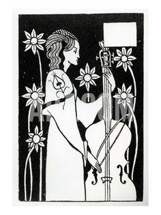 Aubrey Beardsley - Illustration - Art Nouveau - Lady with Cello, from 'Le Morte D'Arthur' Art Nouveau, Walter Crane, Aubrey Breadsley, Ex Libris, Japanese Woodcut, Art Japonais, Design Graphique, Gravure, Oscar Wilde