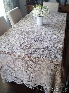 """Superb! Large Vintage Point de Venise Figural Banquet Tablecloth 113x62"""" www.Vintageblessings.com"""