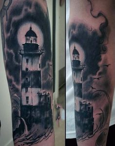Forearm Lighthouse Tattoo For Guys