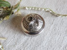 Sweet Vintage French Silver Plated Owl Pill Box, Pretty Patch Box, 1930s Boudoir Chic Dressing Table Decor, Paris Apartment Chic by SweetVintageDream on Etsy