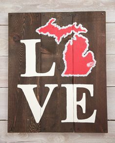 LOVE Detroit Red Wings Michigan Wooden Sign by LarissaJBeers, $38.00