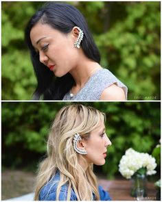 DIY Jewel Embellished Ear Cuff Tutorial from Swellmayde here. She uses vinyl so the weight of these isnt so heavy. You can buy clear vinyl at any fabric store off the huge rolls. For pages of all kinds of DIY ear cuffs go here: truebluemeandyou.tumblr.com/tagged/ear-cuff