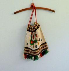 1970s Aztec Purse Peacock Pouch Vintage Drawstring Woven Fringe Bag