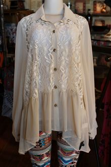 Ivory Lace Front Long Sleeve Top - Pistols and Pearls - Cute Tops, Plus Size