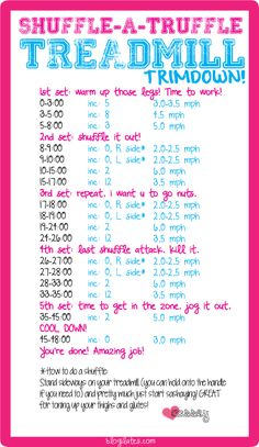 shuffle a truffle treadmill trimdown workout! this one is so cool  because you get to gallop sideways! print and take it with you to the gym today!