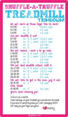 shuffle a truffle treadmill workout blogilates