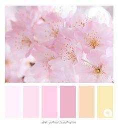 Looking for a very delicate, feminine range of color hues? Color Schemes Colour Palettes, Pastel Colour Palette, Colour Pallette, Color Palate, Color Combos, Pink Palette, Color Concept, Color Swatches, Spring Colors