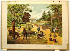 Schoolplaten: De tuin - Le Jardin