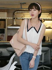 contrast trimmed collar detail sleeveless blouse  CODE: VNM3415  Price: SG $50.00 (US $40.32)