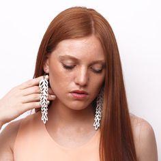 LAUREL leather earrings - color black
