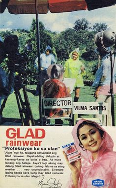 Actress Vilma Santos photo shoot for GLAD Raincoat print ad. Vintage Ads, Vintage Prints, Vintage Photos, Childhood Photos, My Childhood Memories, Old Advertisements, Advertising, Philippines Culture, Old Ads