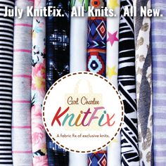 Girl Charlee Fabrics July KnitFix is available now in limited quantity and it is chock full of gorgeous new knits! Even better is that we have an all new designed, navy blue tote to carry you through the rest of your summer fun.