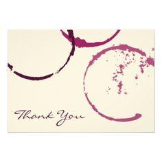 Gracias los anillos planos de la mancha del vino invitación 8,9 x 12,7 cm