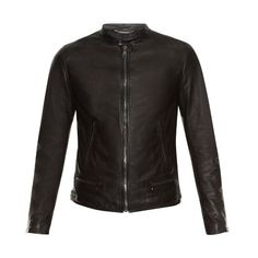 Dolce & Gabbana Zip-up leather bomber jacket ($2,860) ❤ liked on Polyvore featuring men's fashion, men's clothing, men's outerwear, men's jackets, black, mens slim jacket, mens leather bomber jacket, mens slim fit leather jacket, mens leather flight jacket and mens slim fit bomber jacket