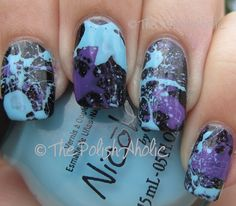Awesome splatter mani! Tutorial says to do a base coat, let dry...then dip straws in polish and blow to create the splatter...fun!