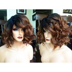 USA Heat Safe Short Ombre Brown Auburn Bob LACE FRONT Part Wavy Wig w/... (€82) ❤ liked on Polyvore featuring beauty products, haircare, hair styling tools and curly hair care