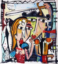 dipinto a olio, innamorati, Grande originale dipinto  arte figurativa, pittura acrilica su tela,  tela grande XL. Custom Extra Large pop art di SIVIGLIARTE su Etsy
