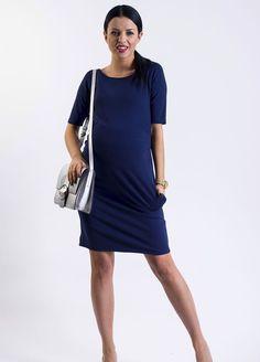 Tmavě modré krátké těhotenské šaty na kojení s tříčtvrtečním rukávem a kapsami Shirt Dress, T Shirt, Dresses For Work, Casual, Fashion, Supreme T Shirt, Moda, Shirtdress, Tee Shirt