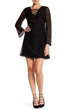 Long Sleeve Lace Up Dress