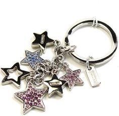 Coach Multi Jeweled Star Charm Keychain Key Fob