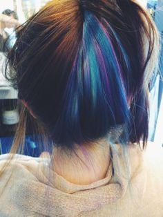 . Pretty Hair Color, Beautiful Hair Color, Under Hair Dye, Peekaboo Hair Colors, Hidden Hair Color, Hair Color Underneath, Creative Hair Color, Hair Color Streaks, Wacky Hair