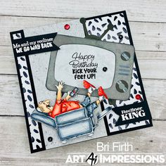 Art Impressions Blog Birthday Cards, Happy Birthday, Art Impressions Stamps, Laugh Lines, Sit Back And Relax, Recliner, King, Design, Bday Cards