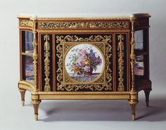 Adam Weisweiler Cabinet Oak veneered with ebony and tulipwood, bronze chased and gilt mounts, soft-paste porcelain plaque, brocatello marble shelves. French Furniture, Luxury Furniture, Antique Furniture, Furniture Styles, Furniture Design, Louis Seize, Carlton House, Bedroom Minimalist, Luis Xvi