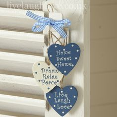 Set of 3 Inspirational Hanging Hearts