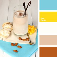 Incredibly cozy palette. Morning chocolate cocktail with meringue on a white wooden table. Contrasting beige and cyan in addition to brown and yellow can create fresh original images. This competent combination of colors is sure to attract attention, if place the correct accents.