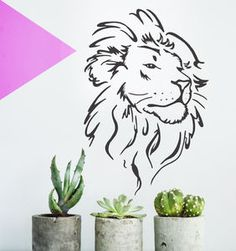 Lion Head Wall Sticker - wall stickers