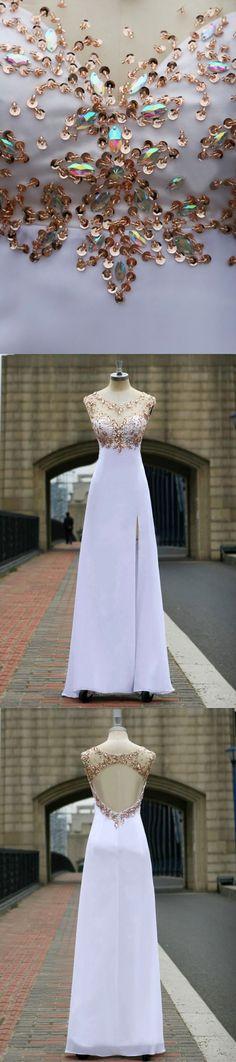 A Line Prom Dress,Beading Prom Dress,Prom Dress with Side Split,Backless Prom Dress,Long Prom Dress,Chiffon Prom Dress