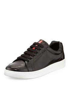 Prada Avenue Erkek Deri Low-Top Sneakers - Siyah #prada #pradaturkiye #pradafiyat #orjinalprada