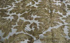 Vintage Velvet Chenille Fabric Upholstery Dark Olive  Remnant