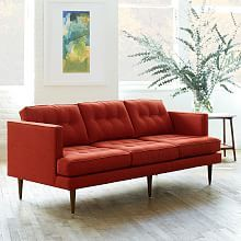"West Elm Peggy Mid-Century Sofa- 64"" and 79"", cayenne or gray and navy linen, $799 and $899"