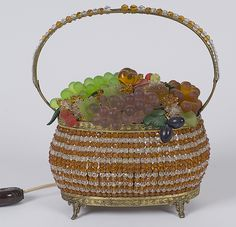 czech decorative items | Czech Glass Fruit Basket Lamp - Cowan's Auctions