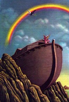 "Noah and the rainbow: ""I solemnly promise never to send another flood to kill all living creatures and destroy the earth."" And the rainbow is given as a sign of The Noahic Covenant. One Year Bible, Genesis 6, Bible Pictures, Biblical Art, Special Interest Groups, Old Testament, Gods Promises, Christian Art, Bible Studies"