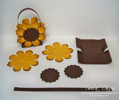 Stamp A Little Longer: Sunflower Treat Boxes 3d Paper Crafts, Paper Gifts, Candy Crafts, Paper Art, Fall Crafts, Diy And Crafts, Packaging Box, Sunflower Cards, Treat Holder