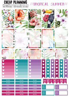 Free Printable Tropical Summer Planner Stickers from Cheap Planning Planner 2018, Summer Planner, To Do Planner, Free Planner, Planner Pages, Happy Planner, Blog Planner, Printable Planner Stickers, Free Printables