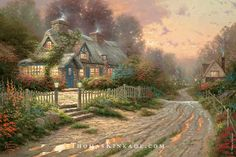 """""""Teacup Cottage"""" was a gift that Thomas Kinkade created for his wife Nanette - who loved to collect teacups and pots. Thom gathered inspiration for this painting from a trip to England, where his father briefly lived."""