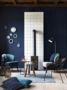 7 interior design trends for spring Blue Rooms, Blue Walls, Room Interior Design, Furniture Design, Living Colors, Home And Living, Living Room, Home And Deco, Bunt