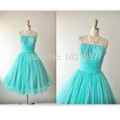 Online Shop 2014 New Design Spaghetti Strapless Vintage Aqua Blue Chiffon Cocktail Party Prom Dress|Aliexpress Mobile