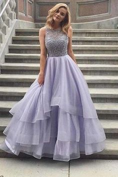 Lavender tulle round neck lace A-line long prom dresses