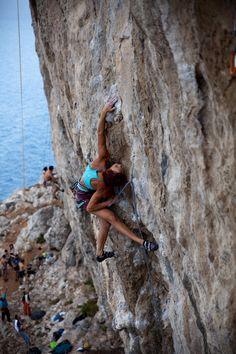 Argyro Papathanasiou climbing during the festival in Kalymnos