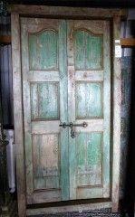 Pair of Reclaimed Teak Doors in Frame (6 panel Jade)