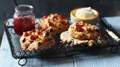 RECIPE for Fat Rascals! cross between scone & Rock Cake best served warm w/ butter. Zesty, fruity & delicious - recipe using grams? gives ingredients so could use a scone recipe/ rock cake recipe & make-up one. Cake Recipes Bbc, Tea Recipes, Baking Recipes, Grape Jam, Clotted Cream, Tray Bakes, Afternoon Tea, Cooking Time, Scones