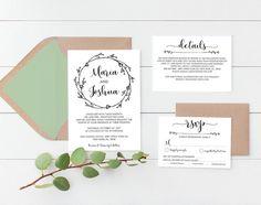 Rustic Wedding Invitation Template, Boho Wedding Invite, RSVP & Details Card, Wedding Invitation Printables, Editable PDF Template